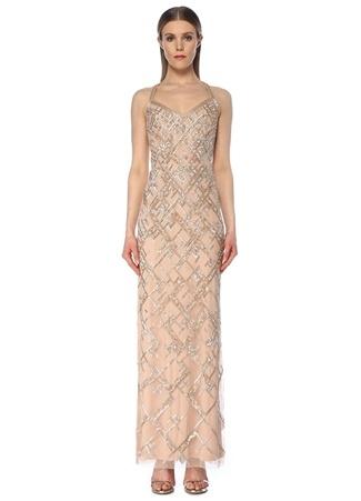 Aidan Mattox Kadın Altın Rengi V Yaka İşlemeli Maksi Abiye Elbise Pembe US female