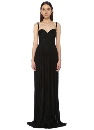 Maria Lucia Hohan Kadın Rayna Siyah Maksi İpek Abiye Elbise 38 FR female