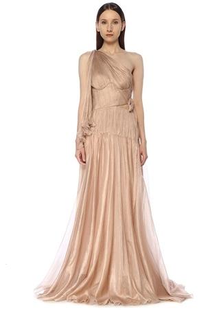 Maria Lucia Hohan Kadın Matilda Rose Tek Omuzlu Maksi İpek Abiye Elbise Pembe 38 FR female