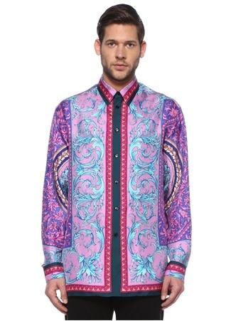 Versace Erkek Pembe Mavi Sivri Yaka Etnik Desenli İpek Gömlek 39 IT Çok Renkli male
