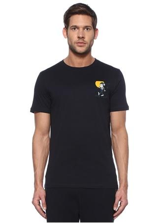 Lacivert Karikatür Baskılı Basic T-shirt