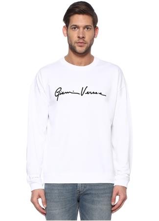 Versace Erkek Beyaz Kontrast Logolu Basic Sweatshirt XL EU male