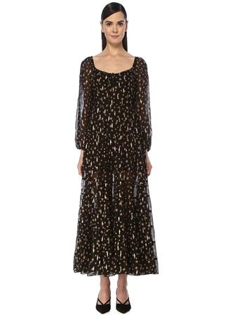 Rixo Kadın Cameron Siyah Gold Desenli Midi İpek Elbise L EU female