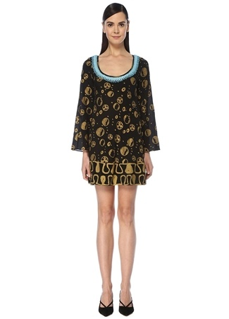 Rixo Kadın Alana Siyah Gold Yakası İşleme Detaylı İpek Bluz EU female