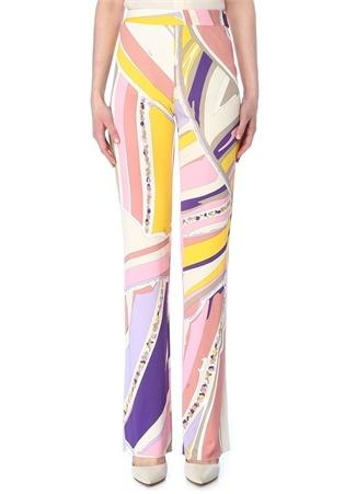Emilio Pucci Kadın Pembe Sarı Yüksek Bel Desenli Bol Paça Pantolon Mor 42 IT female