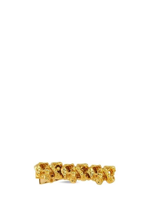 Gold Geometrik Kabartmalı Kadın Altın Kaplama Toka