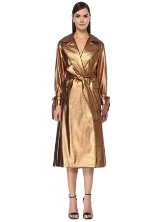 Pia Brand Kadın Gold Beli Kuşaklı Pardösü 36 EU