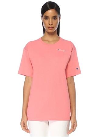 Champion Kadın Oversize Pembe Logo Nakışlı T-shirt M EU female