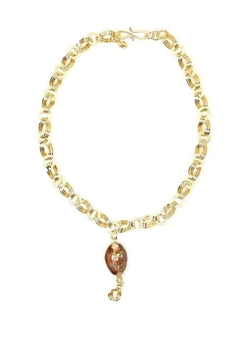 Gold Pembe Deniz Kabuğu Detaylı Kadın Kolye