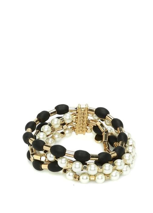 Siyah Gold İnci Detaylı Çoklu Kadın Taş Bileklik