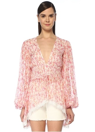 Rococo Sand Kadın Candy Pembe V Yaka Şal Desenli Büzgülü Bluz M EU