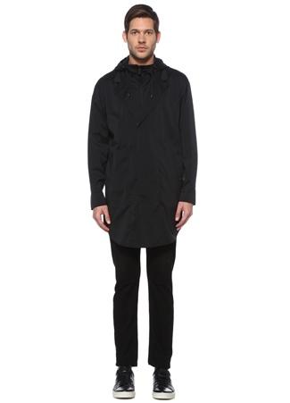 Emporio Armani Erkek Siyah Kapüşonlu İç Yaka Detaylı Desenli Kaban 48 IT male