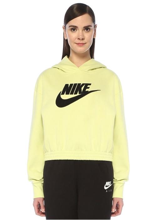Loose Fit Yeşil Kapüşonlu Logolu Crop Sweatshirt