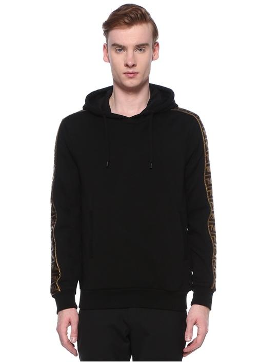 Siyah Kapüşonlu Kolu Logo Şeritli Yün Sweatshirt