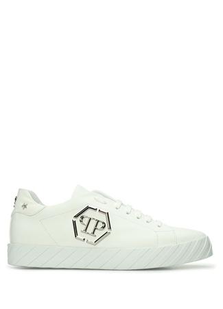 Philipp Plein Erkek Siyah Tabanı Verev Çizgili Deri Sneaker Beyaz 45 EU male