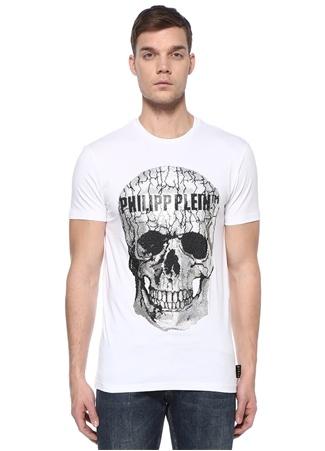 Beyaz Taşlı Kurukafa İşlemeli Logolu T-shirt