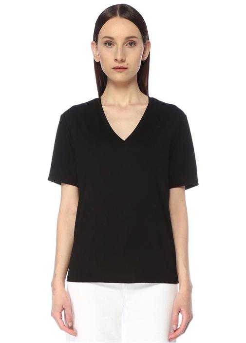 Siyah V Yaka Basic T-shirt