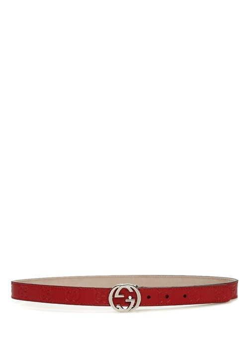 Kırmızı Kabartmalı Logolu Çocuk Deri Kemer