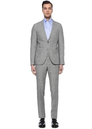 Boss Erkek Tailored Fit Gri Çizgili Keten Takım Elbise 52 IT male