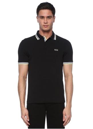 Boss Erkek Regular Fit Siyah Polo Yaka Şerit Detaylı T-shirt XL EU male