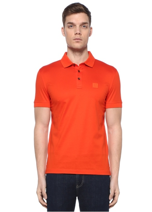 Slim Fit Turuncu Polo Yaka Logolu T-shirt