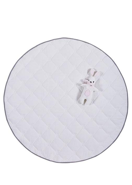 Gri Beyaz Kapitoneli Tavşanlı Bebek Oyun Halısı
