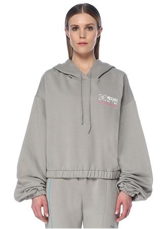Les Benjamins Kadın Gri Kapüşonlu Arkası Garnili Düşük Kol Sweatshirt M EU female