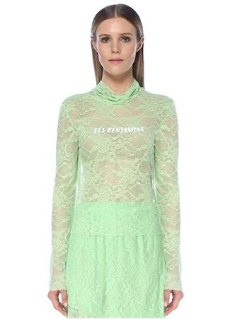 Les Benjamins Kadın Yeşil Dik Yaka Uzun Kol Dantel T-shirt L EU