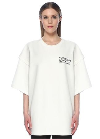 Les Benjamins Kadın Oversize Beyaz Arkası Baskılı T-shirt EU female