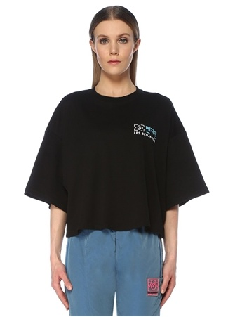 Les Benjamins Kadın Oversize Siyah Logolu Crop T-shirt M EU female