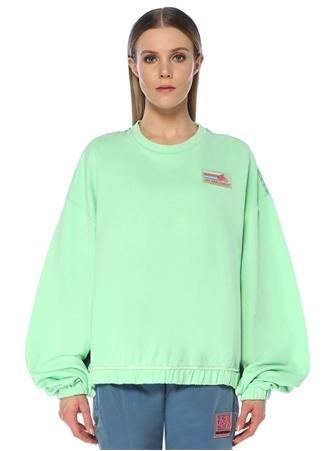 Les Benjamins Kadın Oversize Yeşil Arkası Garni Detaylı Sweatshirt M EU female