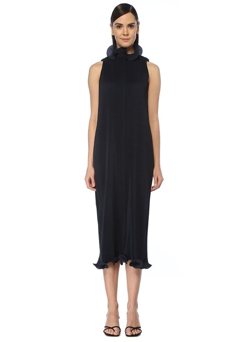 Lacivert Yakası Volanlı Pilili Midi Elbise