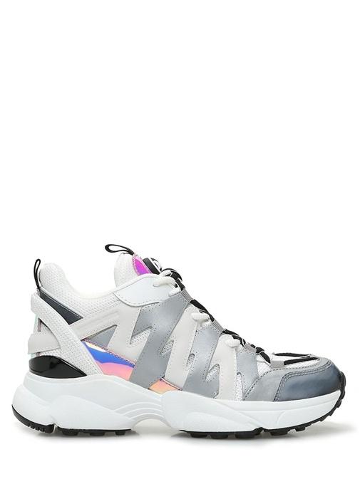 Hero Beyaz Gri Geometrik Şeritli Kadın Sneaker