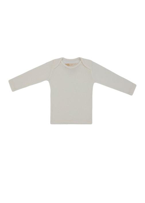 Beyaz Uzun Kol Organik Pamuklu Bebek T-shirt