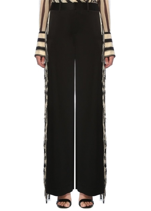 Siyah Yüksek Bel Püskül Detaylı Pantolon