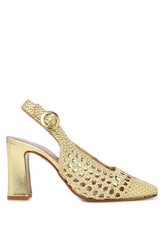 Souliers Martinez Kadın Zahara Gold Hasır Dokulu Deri Topuklu Ayakkabı Altın Rengi 36 EU