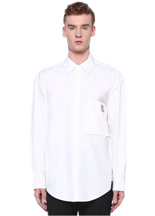 Beyaz Polo Yaka Logolu Cepli Gömlek