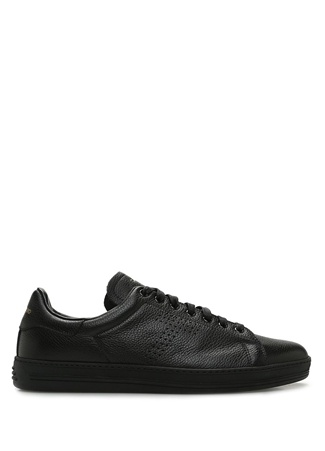 Tom Ford Erkek Siyah Logolu Deri Sneaker 0.5 UK male 10.5