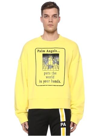 Palm Angels Erkek Siyah Sarı Baskılı Sweatshirt EU male