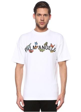 Palm Angels Erkek Beyaz Logo Baskılı T-shirt Siyah EU male