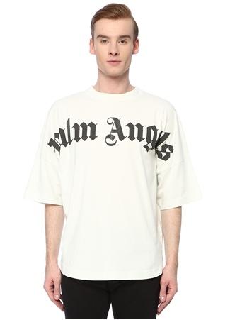Palm Angels Erkek Beyaz Kontrast Logo Baskılı Basic T-shirt Siyah M EU male