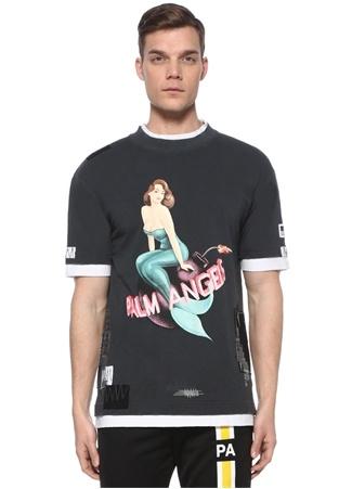 Palm Angels Erkek Antrasit Baskılı Garnili T-shirt Siyah EU male