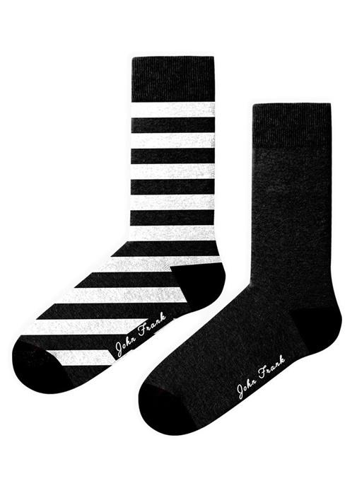 Siyah Beyaz 2li Kadın Çorap Seti