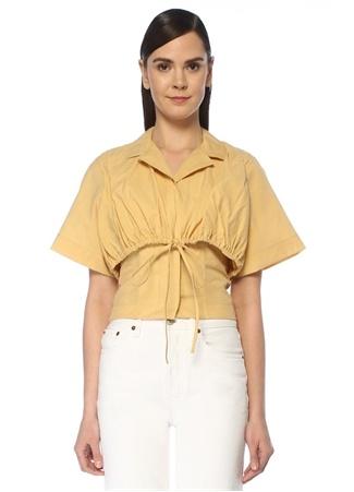 Jacquemus Kadın Mimosa Sarı Büzgülü Kat Detaylı Bluz 40 FR