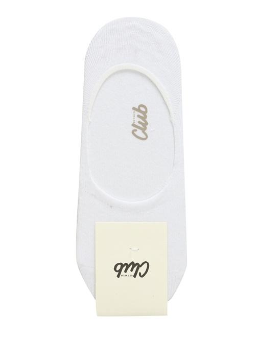 Beyaz Logo Jakarlı Erkek Çorap