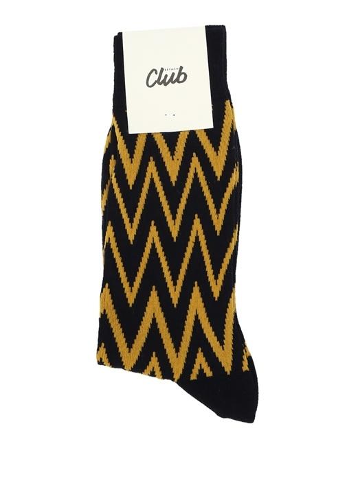Siyah Sarı Zikzak Desenli Erkek çorap