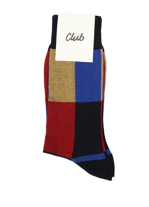 Lacivert Kırmızı Logolu Erkek Çorap