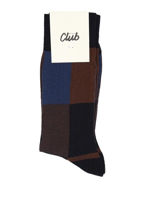 Kahverengi Lacivert Logolu Erkek Çorap