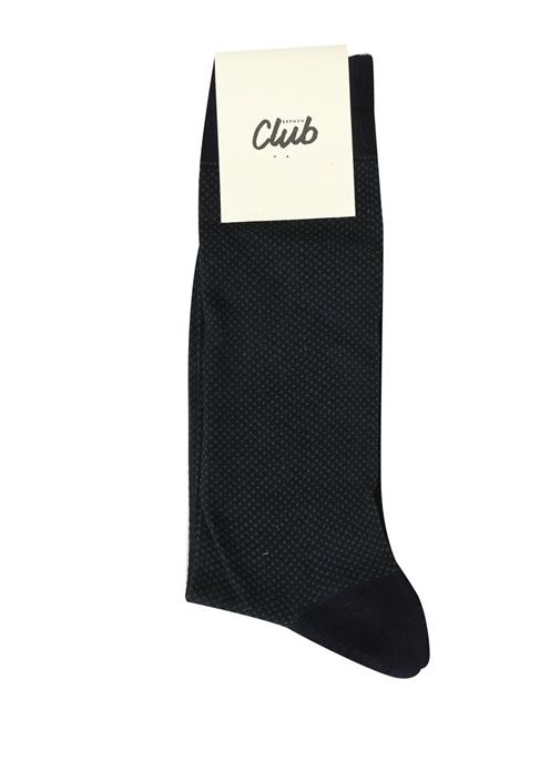 Lacivert Logo Jakarlı Erkek Bambu Çorap