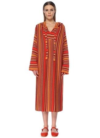 Faraway Kadın Kırmızı Kapüşonlu Çizgili Midi Triko Elbise S EU female